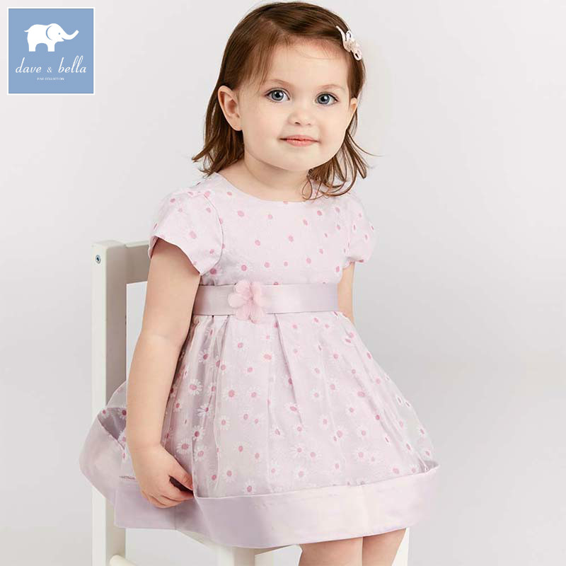 Dave bella baby floral baby girl summer clothing children birthday party wedding clothes girls Princess dress