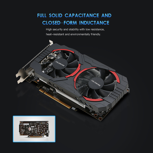 (Free Shipping) Colorfire RX 550 Ustorm-4GD5 4GB/128bit GDDR5 Gaming Cards Graphics Card DP+HDMI+DVI Port with 2 Cooling Fans 4