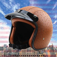 Adult Leather Harley Helmets For Motorcycle Retro Half Cruise Helmet Prince Motorcycle GERMAN Helmet Vintage Motorcycle