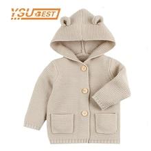 2021 Winter Warm Newborn Baby Sweater Fur Hood Detachable Infant Boys Girl Knitted Cardigan Fall Outwear Children Knitwear 1-24M
