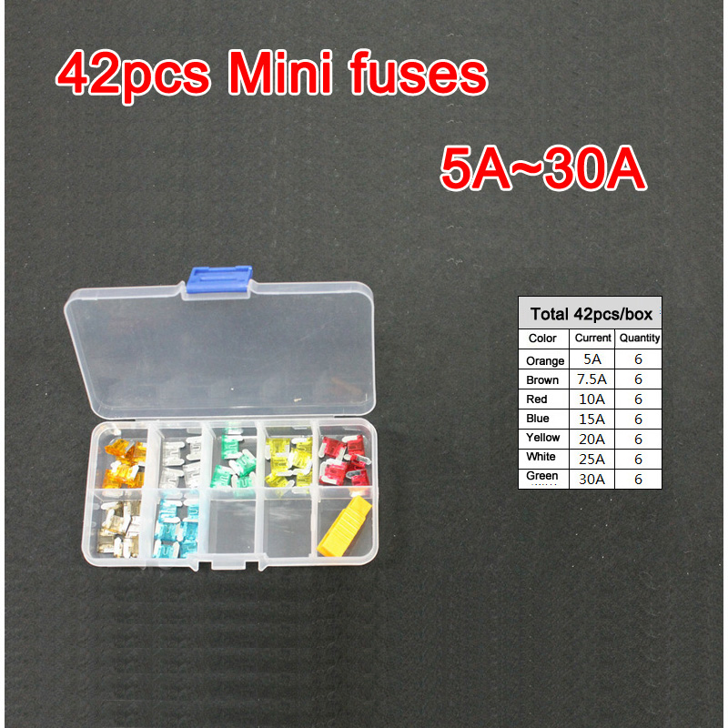 compare prices on motorcycle fuse box online shopping buy low 42pc assorted micro mini blade fuse 5a 7 5a 10a 15a 20a 25a 30a auto car