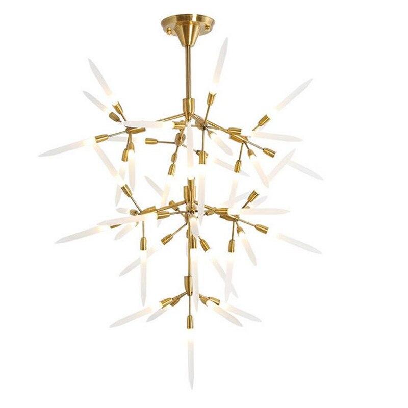 Минимализм филиалов светодиодная люстра светильники люстры Гостиная золото люстры покрытием цветет подвесной светильник подвесной