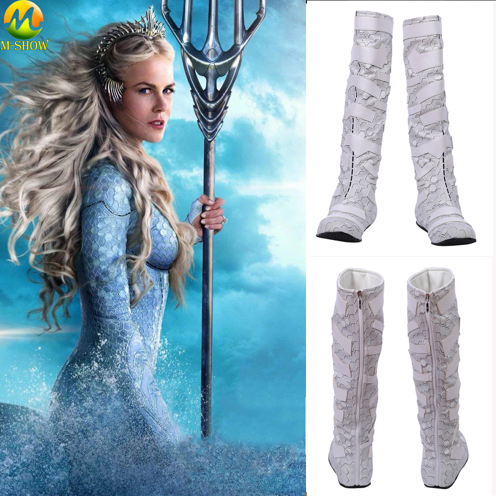 Movie Aquaman Queen Atlanna Cosplay Costumes Boots White Atlanna Leather Shoes Halloween Costume Accessories Customized