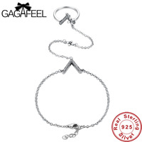 Gagafeel Crystal V Bracelets Extend Link Chain Authentic 925 Sterling Silver Jewelry For Women Luxury Wedding