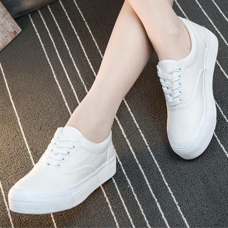 Women Summer Casual Shoes Flat Canvas White Shoes Low Help Platform Shoes Lace Up Vulcanized Shoes Ladies Sneakers LDW900 e lov women casual walking shoes graffiti aries horoscope canvas shoe low top flat oxford shoes for couples lovers