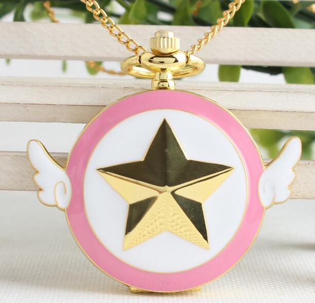 NEW Gold Tone Cartoon Anime Cardcaptor Sakura Star Wing Pocket Watch,Dia 4 Cm OKL52