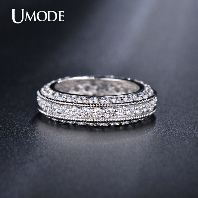 UMODE Brand Fashion Anel Antique Eternity Rings For Women Jewelry White Gold Color Top CZ Wedding