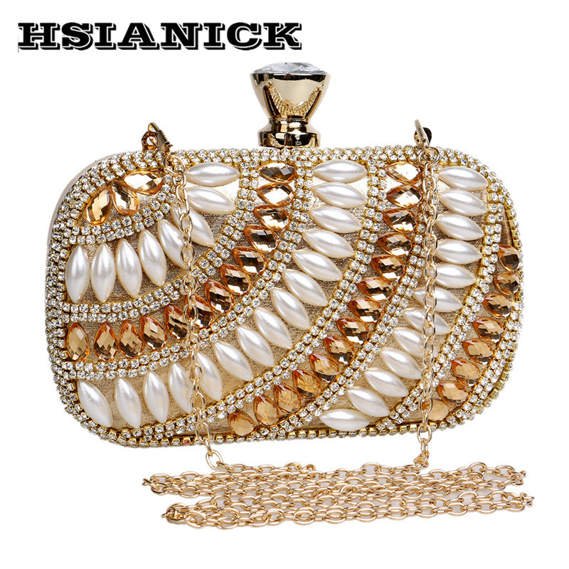 2017 Lady New Arriving Female Promotion Sale Fashion Small Classic Diamond Pearl Evening Bag Party Clutch Wedding Ms Handbag europe new upscale butterfly diamond evening bag full diamond party handbag clutch