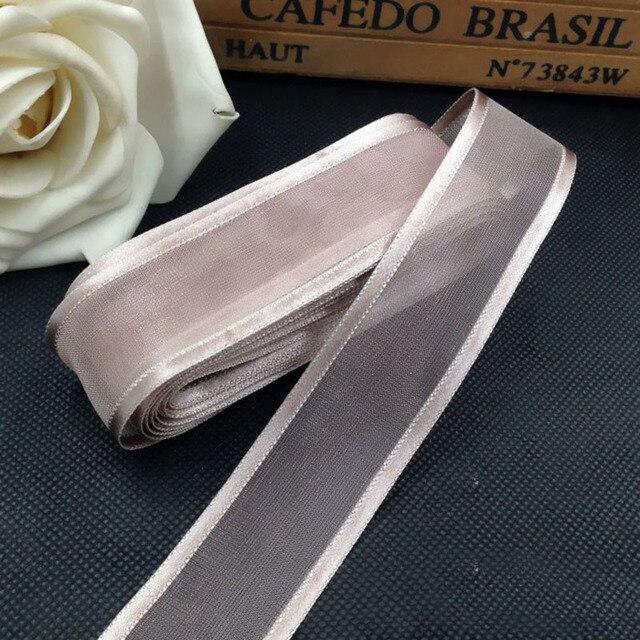 5M 25mm Satin bord Organza ruban pour emballage cadeau cheveux arcs décoration de fête de mariage ruban fait main bricolage rubans de noël