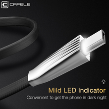 Cafele LED Light Micro USB Cable for Xiaomi Note 5/ 4X Zinc Alloy Connector Charging 120cm