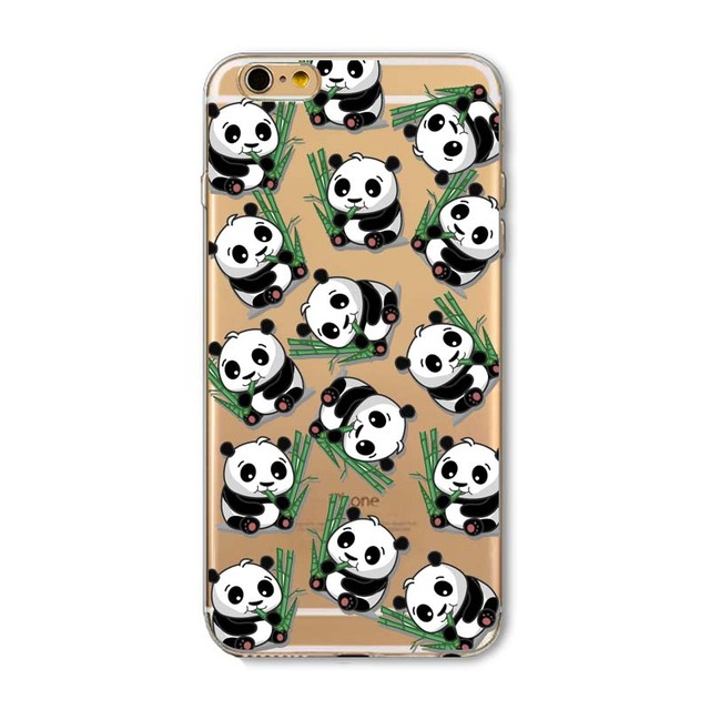 New Animals Cartoon Cute Panda Girls Case for iphone 6 6s Plus 6Plus 5 5s SE soft silicone Protector Cover fundas bag capa Cases