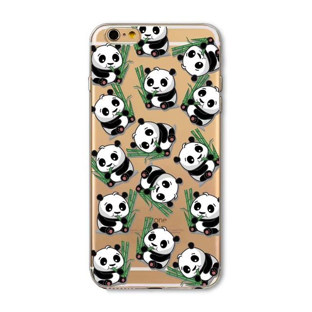 New Animals Cartoon Cute Panda Girls Case for iphone 6 6s Plus 6Plus 5 5s SE soft silicone Protector Cover fundas bag capa Cases