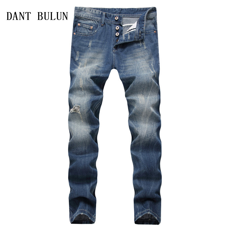 DANT BULUN Men Jeans Business Casual Straight Slim Fit Blue Jeans Stretch Ripped Denim Pants Classic Cowboys Trousers,9822