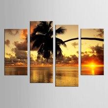 4 panel framed island sunset coconut tree landscape painting mural artist decoration living room canvas print modern