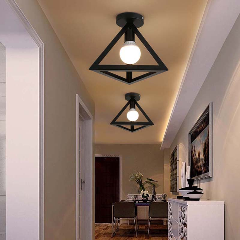 E27 5W Retro Industrial Triangle Metal Iron Ceiling Lamp Shade Pendant Light Covers For Bar Restaurant Cafe Living Room Lighting