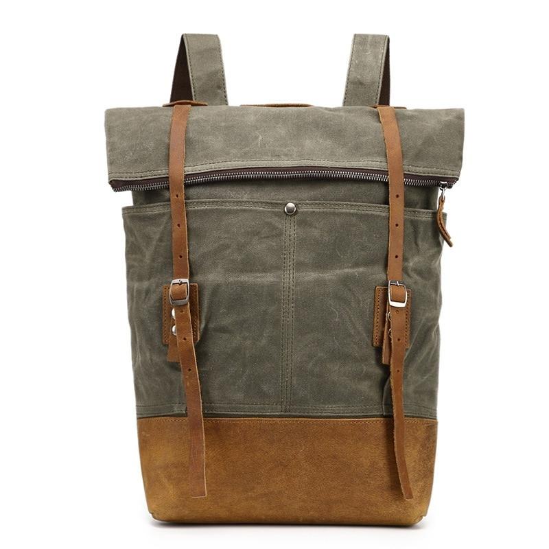 YUPINXUAN Europe Fashion Rivets Travel Backpacks Big Canvas Leather School Daypacks Teenagers Waterproof Laptop Rucksacks Retro