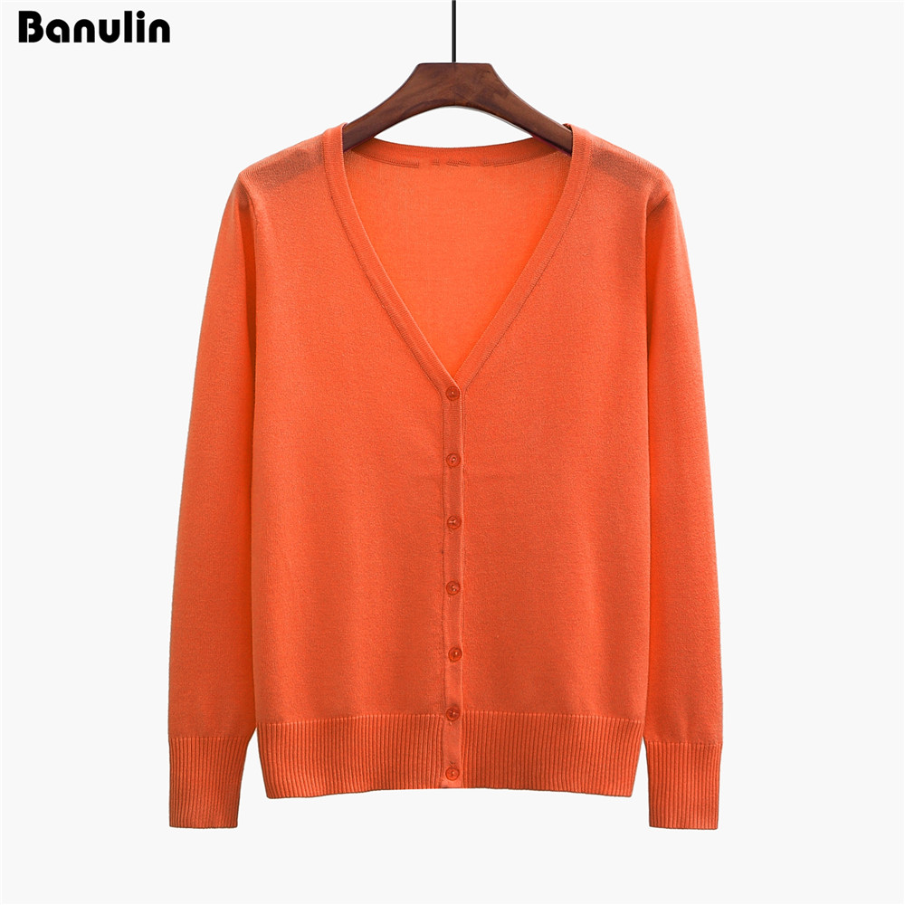 Banulin New Top Selling Women Cardigan Knitted Sweater Coat Long Sleeve Crochet Female Casual V-Neck Woman Cardigans Tops