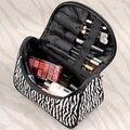 Las mujeres de Señora Makeup Cosmetic Case Zebra Neceser Organizador Del Bolso Del Recorrido SV005497 (Color: Blanco) BAOK-b012