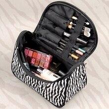 Women Lady Makeup Cosmetic Case Toiletry Bag Zebra Travel Handbag Organizer SV005497 (Color: White)  BAOK-b012