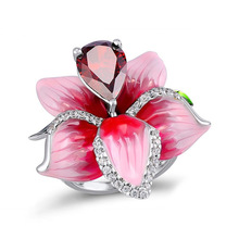 Engagement Pink Flower Rings for Women Fashion Red Water Drop CZ Wedding Jewelry Rose Dropshipping