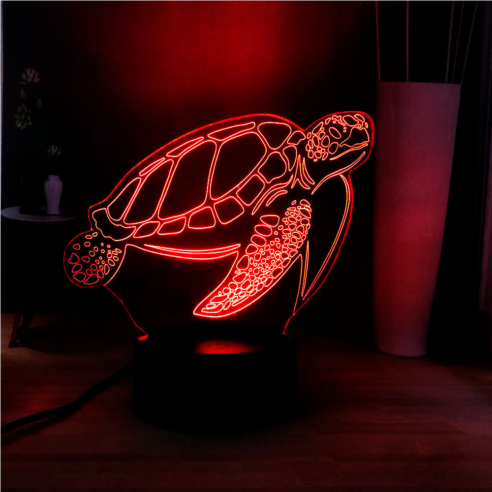 Cute New Sea Turtle 3D LED Acrylic Panel Illusion RGB Home Bedside USB Remote Mood Light Holiday Kids Gift Prize Free Shipping image
