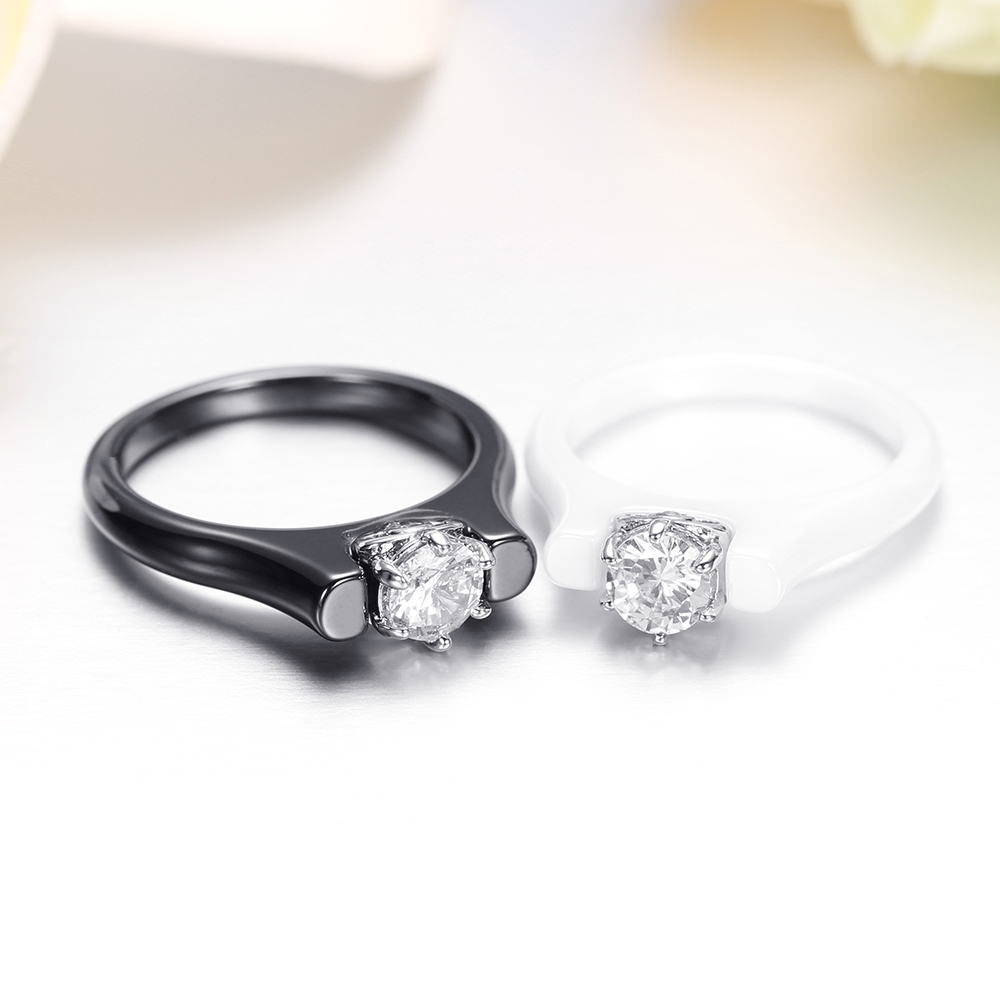 6MM Crystal Ceramic Ring Woman Cubic Zirconia Stone Black/White Color Women Jewelry Engagement Wedding Rings Gifts For Women 6