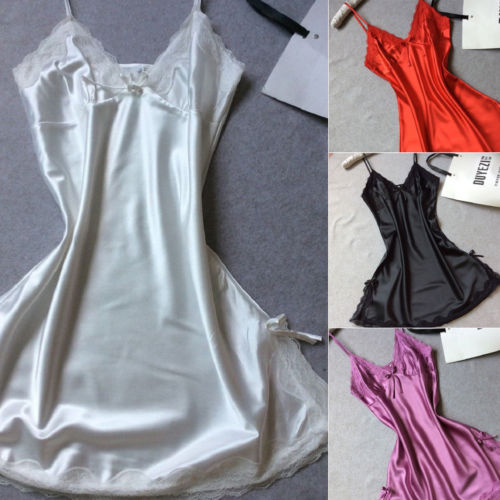 Sexy Women Nightgowns Silk Robe Dress Babydoll Nightdress Nightgown Sleepwear Summer Sleeveless