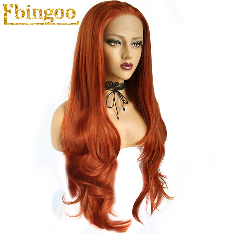 Ebingoo High Temperature Fiber Perruque Orange Wigs Long Natural Wave Copper Red Synthetic Lace Front Wig