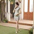 Summer Brand Fashion Chinese Women Satin Dress Short Sleeve Sexy Mini Qipao Lady Elegant Flowers Cheongsam S M L XL XXL LGD42