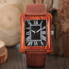 Simple Casual Men's Quartz Wristwatch Rectangle Roman Number Dial Hand-made Wooden Case Genuine Leather Band Male Cool Watches