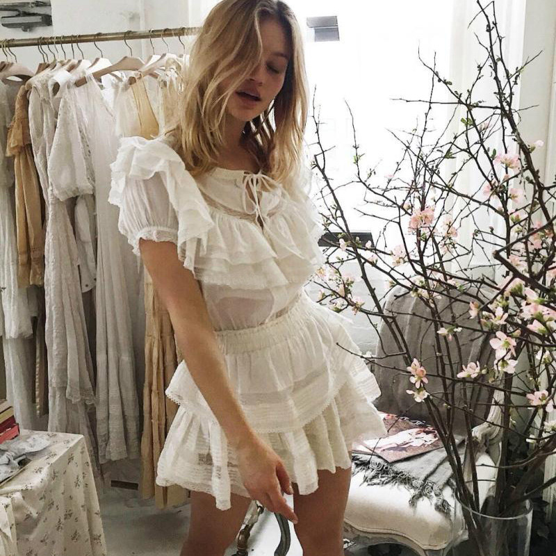 High Quality 2019 Short Sleeve White Lace Patchwork Women Holiday And Beach Style Mini Dress
