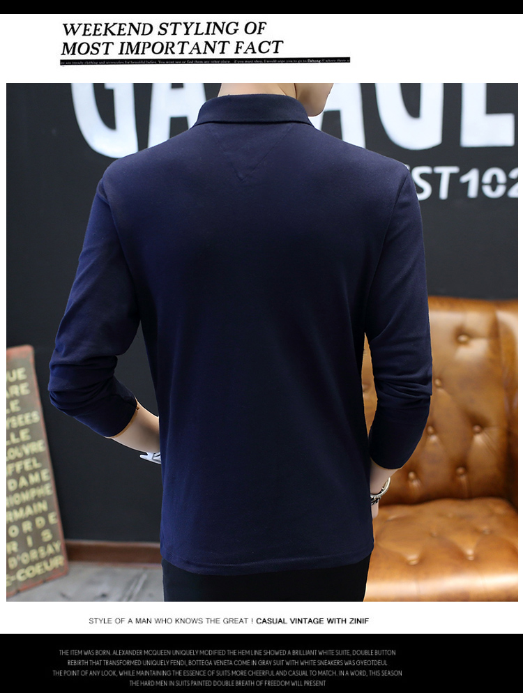 2019 men splicing t-shirts with short sleeves Comfortable in summer youth leisure lapel t-shirts 41
