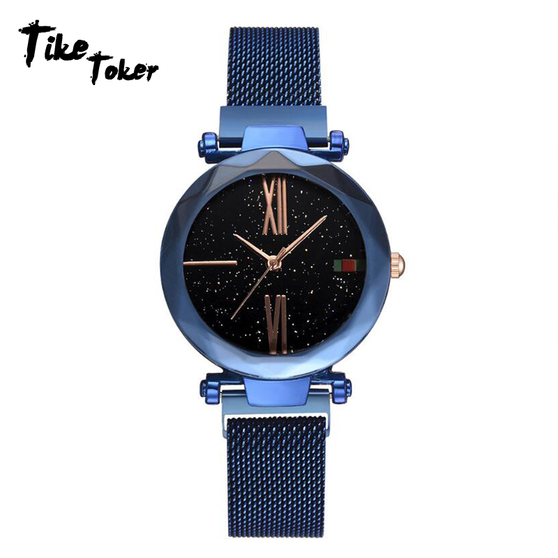 Tike Toker,Fashion Starry Sky Women Watches Magnet Buckle Stylish Rose Gold Female Casual Quartz Wristwatch Unique Lady Girls ClTike Toker,Fashion Starry Sky Women Watches Magnet Buckle Stylish Rose Gold Female Casual Quartz Wristwatch Unique Lady Girls Cl