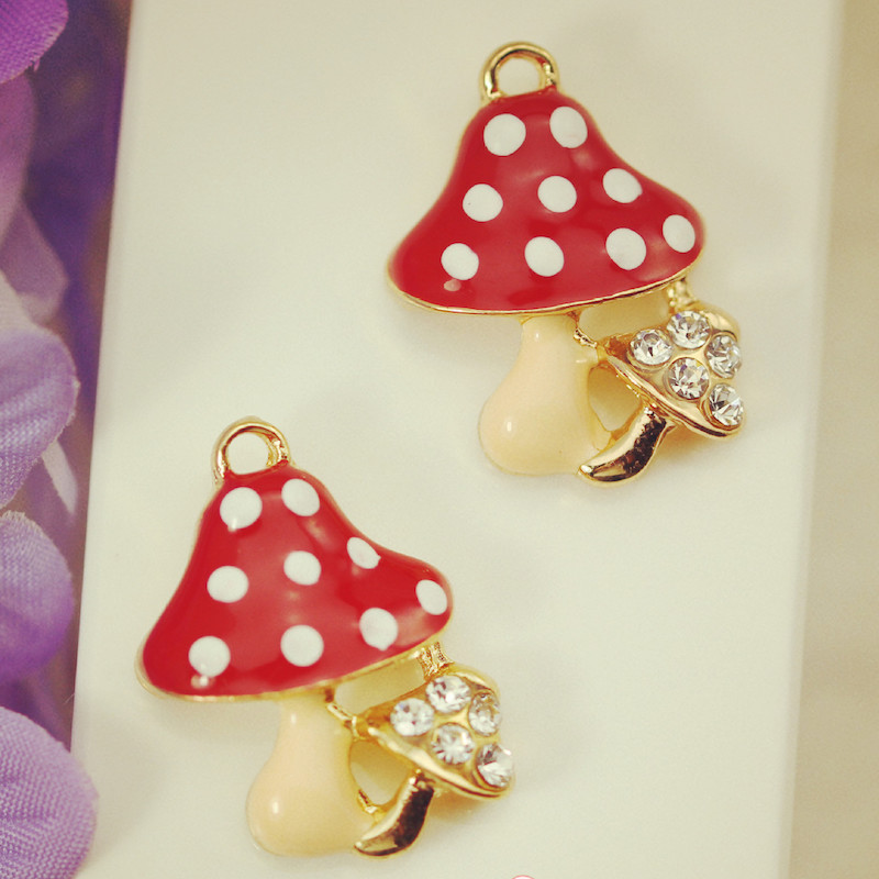 10pcs/lot flowers pendant size 25*26mm mushroom alloy enamel Charm DIY accessories of necklace bracelet headdress