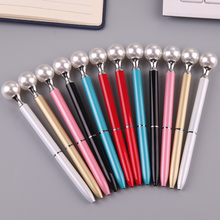 1 PCS Big Pearl Metal Ballpoint Pen Rotate Signing Pens Student Stationery Office Business Metal Ball Pen