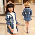 Free shipping new arrival children's clothes spring long-sleeved cardigan coat girl long jeans trench coat girl dust coat