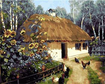 Paintboy Köy çerçeveli Resimler Diy Boyama By Numbers Akrilik Oturma