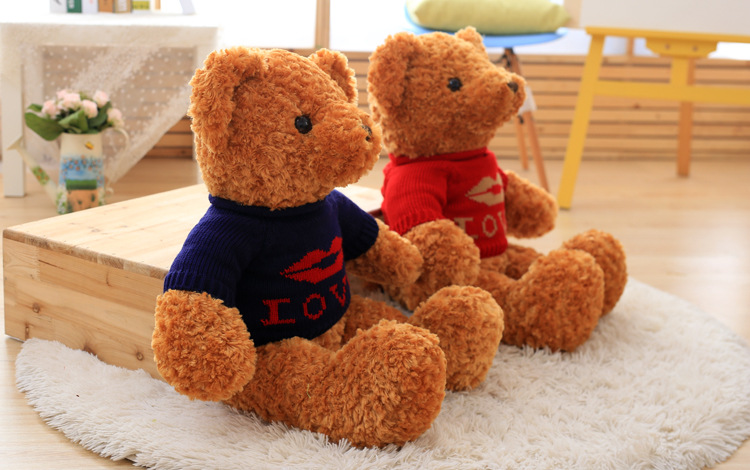 stuffed plush toy large 80cm brown teddy bear plush toy love sweater bear soft doll throw pillow birthday gift b0835 huge lovely new plush teddy bear toy stuffed light brown teddy bear with bow birthday gift about 160cm