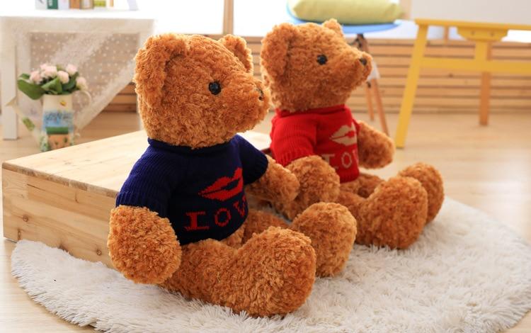 stuffed plush toy large 80cm brown teddy bear plush toy love sweater bear soft doll throw pillow birthday gift b0835 stuffed animal 180cm dark brown teddy bear plush toy soft doll throw pillow gift w2064