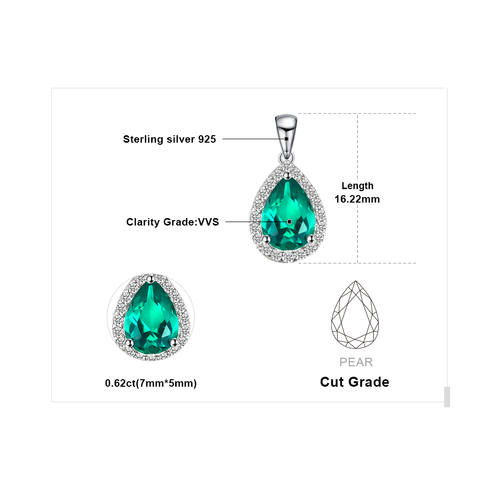 JewelryPalace 0.7ct Water Drop Creado Colgantes de esmeralda Genuino - Joyas - foto 5