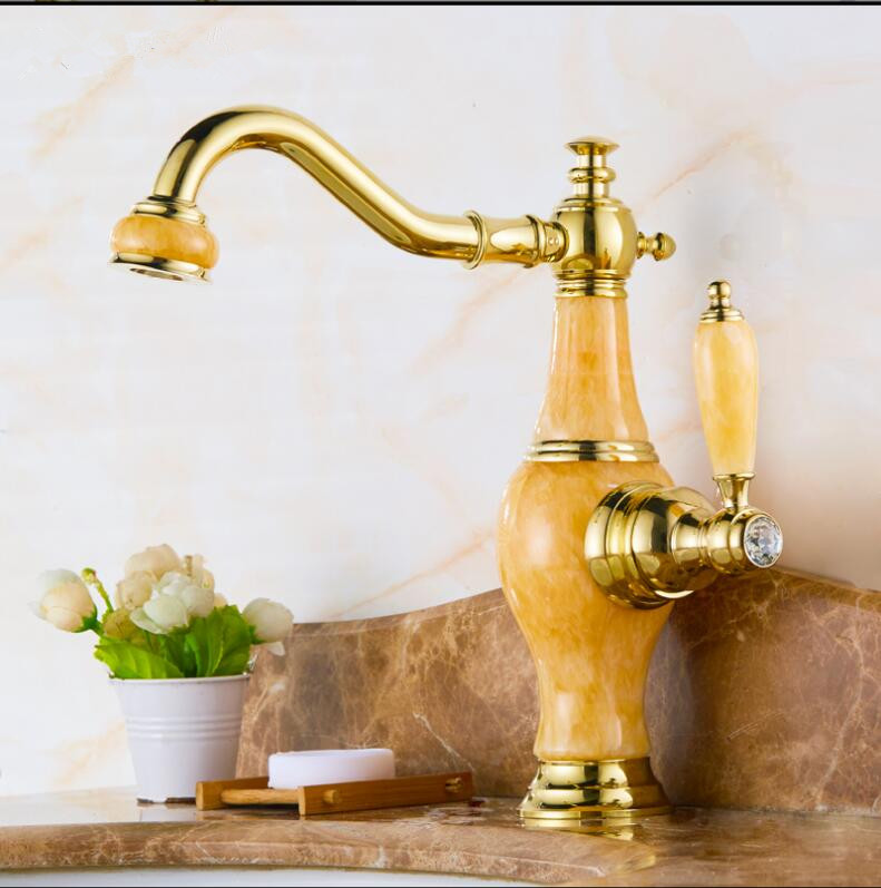 Grifo de lavabo, grúa de oro, cuerpo de Jade de latón, grifo de lavabo de baño giratorio de 360 grados Irrigación 2 vías grifo jardín Válvula de riego manguera divisor 2 vías adaptador de conector rápido 1 Uds
