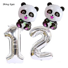 Shiny Eyes Panda Balloons Giant Zoo Animal Number Foil Kit For Jungle Safari Animals Theme Birthday Party Decorations