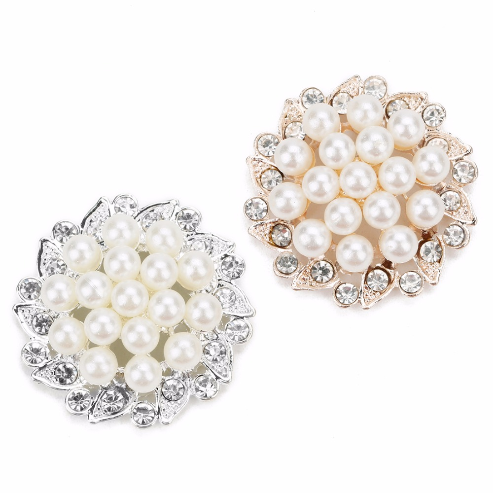 2pcs Flower Rose Gold/Silver Color Crystal Cabochon Imtation Pearl Beads For Jewelry Brooch Bag Craft Making Scrapbooking