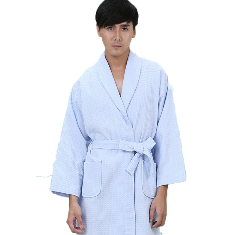 Waffle Cotton Bathrobe Men  Xxl Pajamas Women Nightgown Ladies Girls Home Hotel White Soft Long Cool Summer Spring