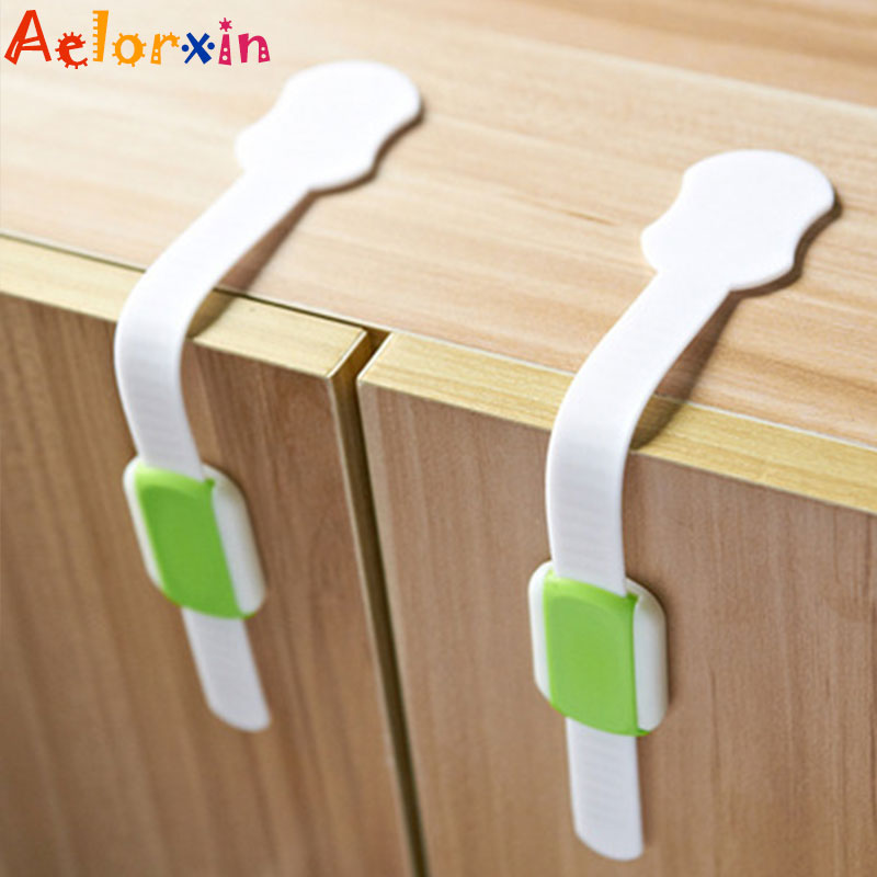 2Pcs/Lot Drawer Door Cabinet Cupboard Toilet Safety Locks Baby Kids Safety Care Plastic Locks Straps Infant Baby Protection