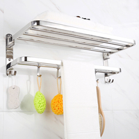 Stainless steel 304 bathroom towel holder wall mounted with collapsible European bathroom wall hanging folding towel shelf d hv