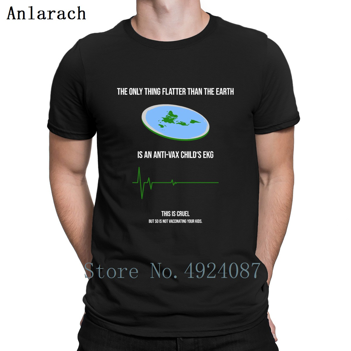 Anti Vax Flat Earth   T     Shirt   Slogan Summer 2019 Cotton Designer   T     Shirts   Costume Male New Fit