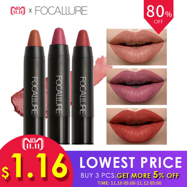FOCALLURE Matte Lipstick 19 Colors Waterproof Long-lasting Easy to Wear Maquiagem Profesional Lipstick Nude Lips