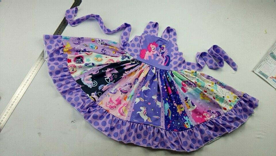 2019 cute kids twirly dress horse pattern fashion girls cartoon clothing(China)
