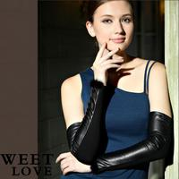 Winter Arm sleeves Arm warmers Leather long gloves sheepskin 47cm